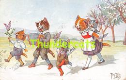 CPA ILLUSTRATEUR ARTHUR THIELE CHAT CHATS ARTIST SIGNED CAT CATS ( PLI D'ANGLE - CORNER CREASE ) - Thiele, Arthur