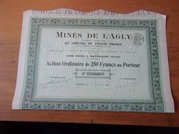 MINES DE L'AGLY (capital 600 000) Montpellier,hérault (1914) - Zonder Classificatie