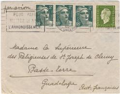TB- 3 X 2F GANDON 3F DULAC TARIF 9F LETTRE AVION GUADELOUPE 15/01/46 ( 3f De Lettre Et 6f De Surtaxe Aérienne) - 1921-1960: Moderne