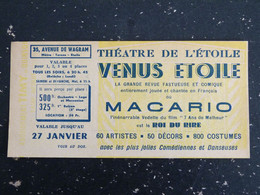 THEATRE DE L'ETOILE PARIS - TICKET REVUE VENUS ETOILE MACARIO - Biglietti D'ingresso
