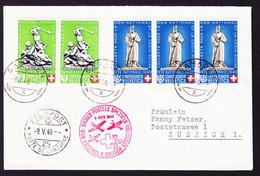 1940 Bundesfeiermarken Les Rangiers 3er Streifen, Plus Sempach 5 In Paar Auf Rotkreuz Flugbrief. Samaden/Zürich - Brieven En Documenten