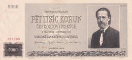 Ref. 1478-1900 - BIN CZECHOSLOVAKIA . 1945. 5000 KORUN SPECIMEN CZECHOSLOVAKIA 1945 - Czechoslovakia