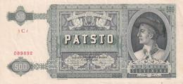 Ref. 1372-1794 - BIN SLOVAKIA . 1941. SLOVENSKA 500 KORUN 1941 SPECIMEN - Slovakia
