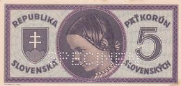 Ref. 1367-1789 - BIN SLOVAKIA . 1945. SLOVENSKA 5 KORUN 1945 SPECIMEN - Slovakia