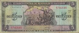 Ref. 1328-1750 - BIN EL SALVADOR . 1977. EL SALVADOR 5 COLONES 1977 - El Salvador