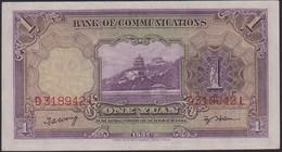 Ref. 867-1289 - BIN CHINA . 1914. 1 YUAN 1914 THE BANK OF COMMUNICATIONS CHINESE CHINA UNC - Cina