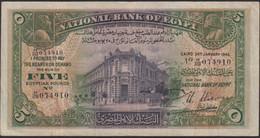 Ref. 842-1264 - BIN EGYPT . 1945. EGYPT 5 POUND 1945 - Egitto