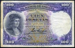 Ref. 413-741 - BIN SPAIN . 1931. 100 PESETAS 1931 GONZALO HERNANDEZ DE CORDOBA. 100 PESETAS 1931 GONZALO HERNANDEZ DE C - 100 Pesetas