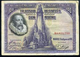 Ref. 408-744 - BIN SPAIN . 1928. 100 PESETAS 1928 CERVANTES. 100 PESETAS 1928 CERVANTES - 100 Pesetas