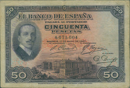 Ref. 396-694 - BIN SPAIN . 1927. 50 PESETAS 1927 SELLO REPUBLICA. 50 PESETAS 1927 SELLO  REPUBLICA - 1873-1874 : Prima Repubblica