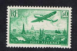 FRANCE 1936 50 Fr Vert-jaune - Avion Survolant Paris - N° Y&T : PA 14 Reprint ???!?!?!? MNH*** - 1927-1959 Mint/hinged