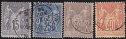 France    .  Y&T    .   4 Timbres         .   O     .    Oblitéré - 1876-1878 Sage (Tipo I)