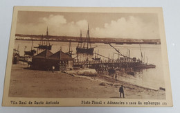 ANTIQUE POSTCARD PORTUGAL ALGARVE VILA REAL DE SANTO ANTONIO - POSTO FISCAL E ADUANEIRO E CAIS UNUSED - Faro