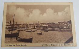 ANTIQUE POSTCARD PORTUGAL ALGARVE VILA REAL DE SANTO ANTONIO - AVENIDA DA REPUBLICA E RIO GUADIANA UNUSED - Faro
