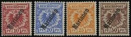 MARIANEN 3-6IIa *, 1900, 10 - 50 Pf. Steiler Aufdruck, Falzreste, 4 Prachtwerte, Mi. 205.- - Isole Marianne