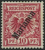 MARIANEN 3IIb *, 1900, 10 Pf. Lilarot Steiler Aufdruck, Stärkere Falzreste, Pracht, Gepr. Jäschke-L., Mi. 200.- - Isole Marianne