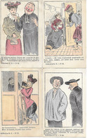 CPA  ANTI CLERICAL - VERS 1905 LOT DE 4 CPA DESSINS  DE LAVRATE POUR LE JOURNAL LA LANTERNE VICTOR FRACHON - Satirical