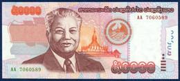 LAOS 50000 50.000 KIP P-38 Kaysone Phomvihane, Pha That Luang Pagoda - Presidential Palace, Vientiane 2004 UNC - Laos