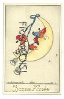 Bonne Année. Trois Lutin Sur La Lune. Flûte, Pipe, Cloches. Coloprint Elite 1111 - Año Nuevo