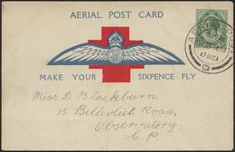 SÜDAFRIKA AB 1910 2 BRIEF, 7.10.1918, Erstflugkarte Vom Roten Kreuz, Route: Wynberg - Green Point Nach Observatory C.P., - Posta Aerea