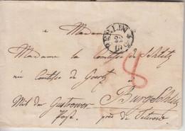 Preussen - Berlin 22/10 Fingerhut-Stpl. Portobrief N. Burg Schlitz B. Teterow - Prusse