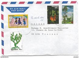 242 - 67 - Enveloppe Envoyée Du Ruanda En Suisse - Bel Affranchissement - 1990-99: Oblitérés