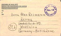 WWII    Feldpost  - P.O.W.Camp No.18 Great Britain  (G0406) - Brieven En Documenten