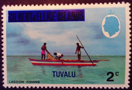 Tuvalu Iles Gilbert Islands 1976 Peche Fishing Bateau Boat Surchargé Overprinted Yvert 5 ** MNH - Tuvalu