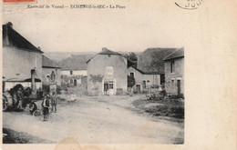 ECHENOZ-le-SEC (Haute-Saône) - La Place. Presbytère Et L'église (Clocher Vosgien). Circulée En 1911. - Other Municipalities