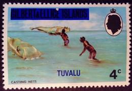 Tuvalu Iles Gilbert Islands 1976 Peche Fishing Surchargé Overprinted Yvert 7 ** MNH - Tuvalu
