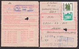 Waltersdorf, Postintern Einz.-Auftrag 20.8.90 PSSt. (58) Greiz, 30, 50 Pfg. DM-Währung Nach DDR-WU - Cartas