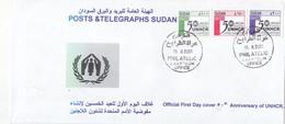 Fdc`s SUDAN 2001 SC 523 525 UN REFUGEES UNHCR 50TH ANNIV #18 - Soedan (1954-...)