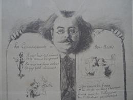 Bon Bock Menu Ancien N°160 De 1889 Illustrateur José Frappa  Octave Pradels Docteur J Roussel Albert Rousseau - Menus