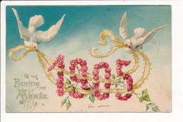 Carte  Gaufrée / Relief De Bonne Année ( 1905 / Colombe / Fleurs Roses ) - New Year