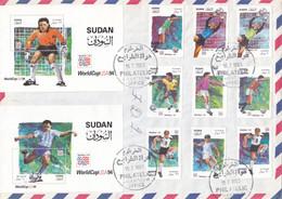 FDC`S SUDAN 1995 SC 470 480 WORLD CUP USA 1994 LIGHT THINNING ON BACK #35 - Soedan (1954-...)