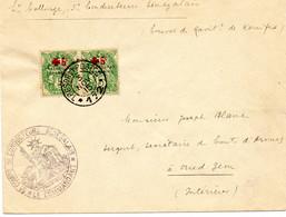MAROC.1915.PROTECTORAT FRANCAIS/ RARE PAIRE SURCHARGE CROIX-ROUGE/ TRESORS ET POSTE.. - Covers & Documents
