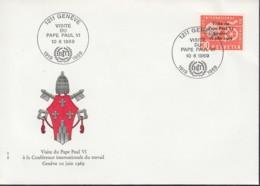 SCHWEIZ Dienst  BIT/ILO  103, FDC, Besuch Von Papst Paul VI. Bei Der Internationalen Arbeitskonferenz, 1969 - Oficial