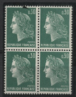 N° 1611 MARIANNE DE CHEFFER Bloc De 4 Avec VARIETE D'IMPRESSION Sur Un Exemplaire. Neufs ** (MNH). TB - Curiosa: 1960-69 Postfris