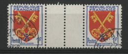 N° 1047 BLASON DU COMTAT VENAISSIN Paire Avec INTERPANNEAU. Oblitérés. TB - Curiosa: 1960-69 Postfris