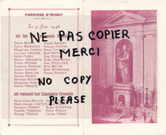 """Feuillet Double """"Souvenir Communion Solennelle 9 Juin 1946 , Paroisse D'Irigny (69) Rhône Voir Listes Des Communiants - Santini"""