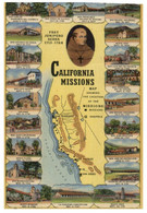(AA 18) NA - Older Postcard - USA - California Mission Map  (posted To France 1953) - Misiones