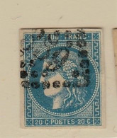 France >1870 Emission De Bordeaux  N° 46 B OBLITÉRATION  GROS CHIFFRES  BONNES MARGES - 1870 Bordeaux Printing