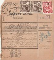 INDOCHINE - COCHINCHINE - Oblitération TAYNINH  Sur MANDAT CARTE - Covers & Documents