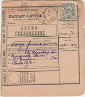 INDOCHINE - COCHINCHINE - Oblitération GIADINH  Sur MANDAT LETTRE - Covers & Documents
