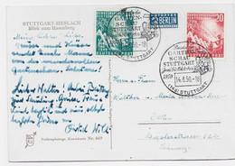 GERMANY 10C+2+ PETIT TIMBRE 2 BERLIN KARTE STUTTGART 14.6.1950 TO SUISSE - Cartas