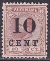 SURINAME 1898 Hulpuitgifte 10 Ct Op Koning Willem III 30 Ct Bruin (9) NVPH 33 (*) - Surinam ... - 1975