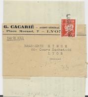 PETAIN 70C ORANGE SEUL BANDE IMPRIME ANNULATION GRIFFE LYON GARE TARIF 2EME - 1941-42 Pétain