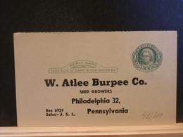 92/311  POSTAL CARD Usa  PIQUAGE ECTO/VERSO  XX - 1941-60