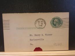 92/313 POSTAL CARD Usa  PIQUAGE VERSO  1943 - 1941-60