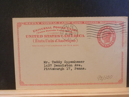 92/320 POSTAL CARD Usa  PIQUAGE VERSO 1954 - 1941-60